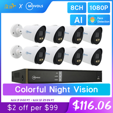 Movols 2MP AI renkli gece görüş CCTV kiti H.265 + su geçirmez Video gözetim sistemi 8CH DVR 8 adet/4 adet güvenlik kamera seti