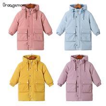Ciepłe kurtki zimowe ubrania długa kurtka puchowa dla dzieci koreańska gruba kurtka z kapturem kurtka dla niemowląt chłopcy i dziewczęta Snowsuit kurtka zimowa dla dzieci parka