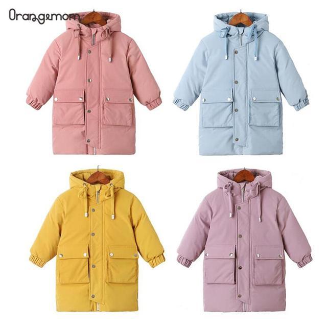 Warme mäntel Winter kleidung Lange Unten Jacke Kinder Koreanische Starke Mit Kapuze Jacke Baby Jungen & Mädchen Schneeanzug Winter Jacke Kinder parka