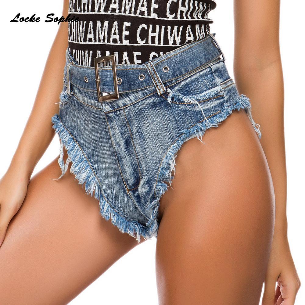 1pcs High Waist Sexy Women's Denim Shorts 2019 Summer Denim Cotton Splicing Waist Belt Hole Ladies Skinny Sexy Super Short Jeans