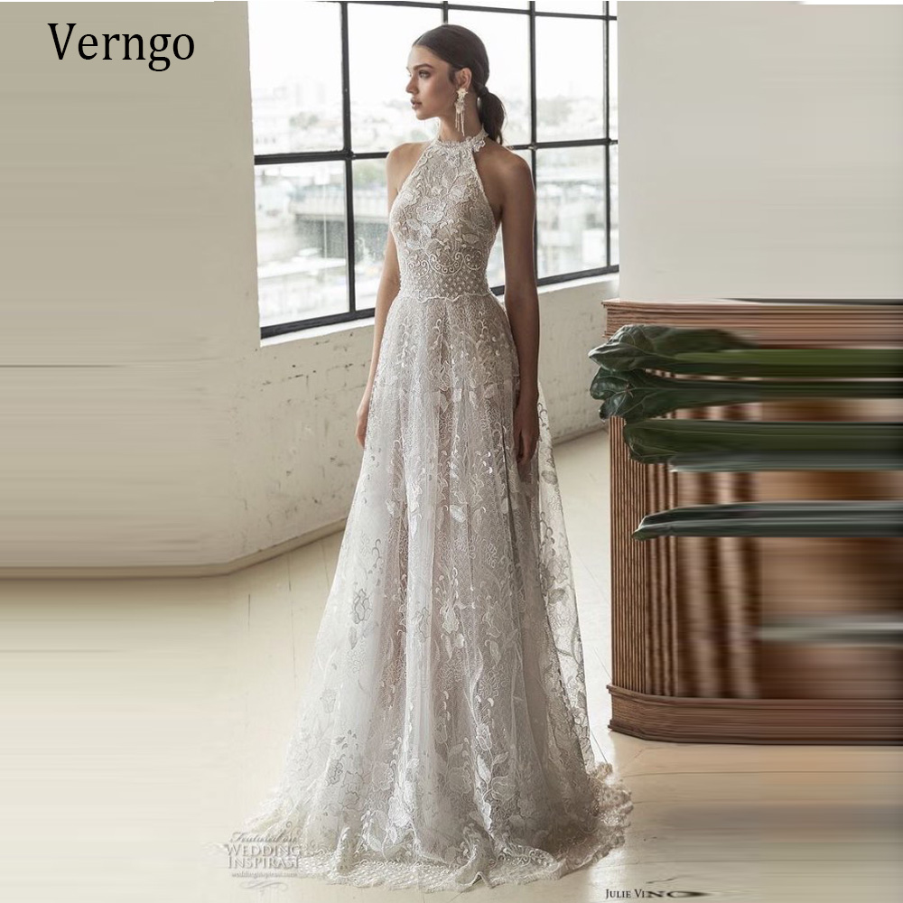 Buy Verngo Halter Elegant A Line Wedding Dress 18 Sexy Backless ...