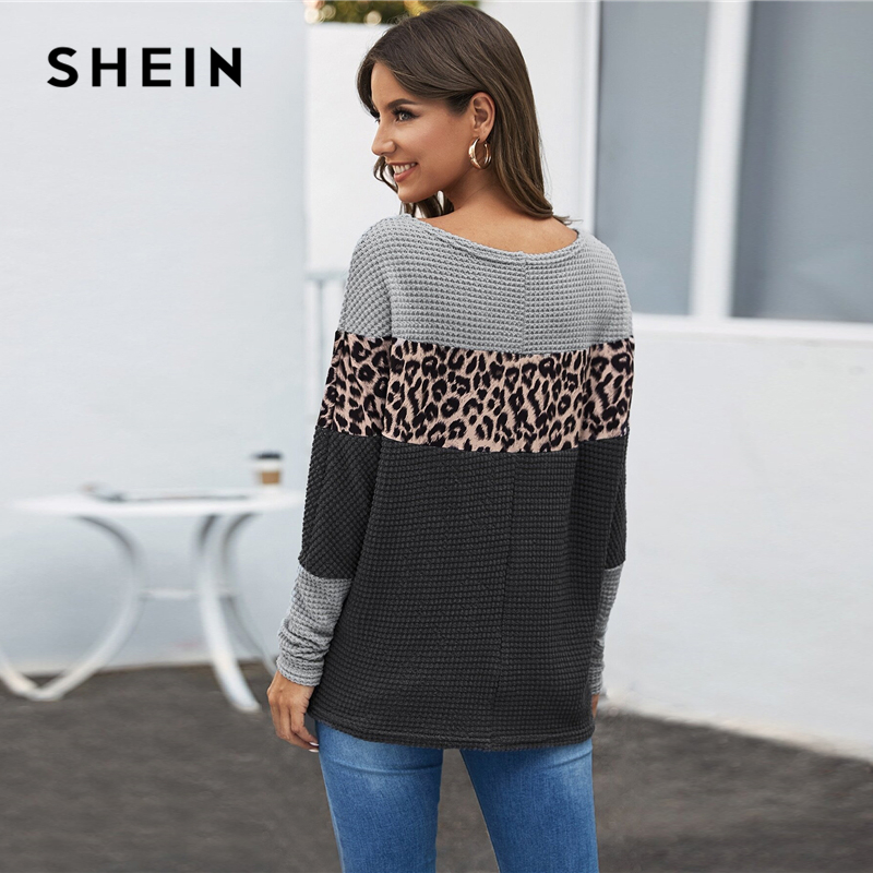 SHEIN Multicolor Cut And Sew Leopard Print Casual Tee Women Tops 2020 Spring Streetwear Colorblock Long sleeve Ladies T-shirts 2