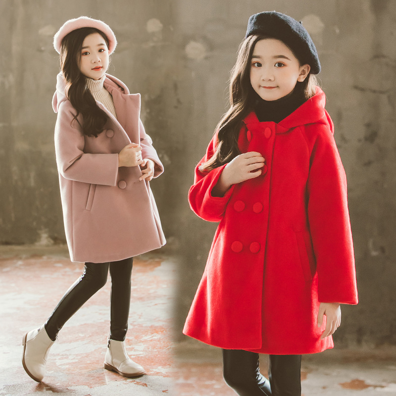2019 Winter New Children's Autumn And Winter Woolen Coat Teen Cute Cat Print Back Long Wool Coat Girls Coat Clothes Clothes