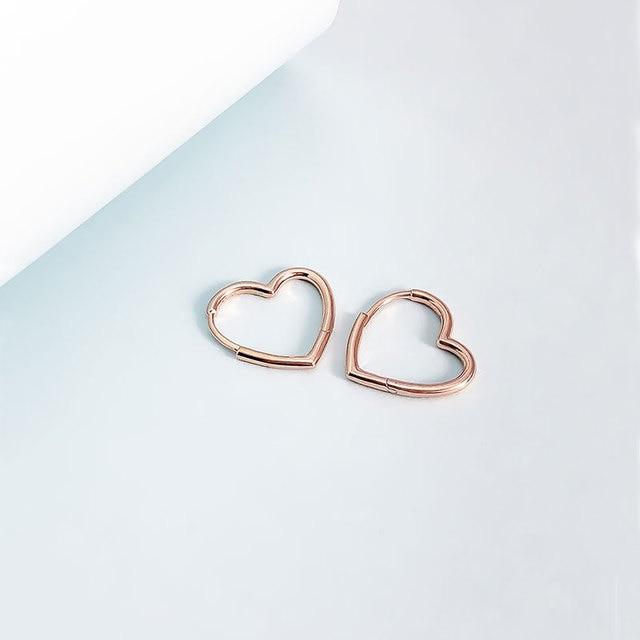 Silver Earrings Real 925 Sterling Silver Big Heart CZ Zircon Round Hoop Earrings for Women Fashion Silver Earring Jewelry Gift 5