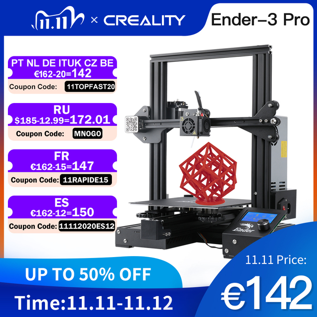 CREALITY 3D Printer Ender 3 PRO Printer KIT Print Mask With Brand MW Power Glass option 3D Drucker Impresora Printer Kit