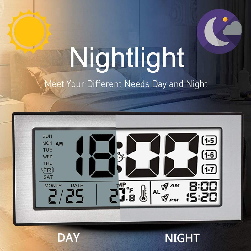 Digital Alarm Clocks, Non Ticking Battery Operated, Desk Clock Simple Alarm Clock, With Time Temperature Snooze Night Light For