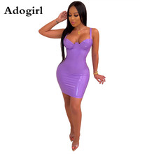 Adogirl Solid PU Leather Bodycon Dress Plunging V-neck Dress Sexy Spaghetti Strap Night Club Midi Vestidos Female Fashion Outfit