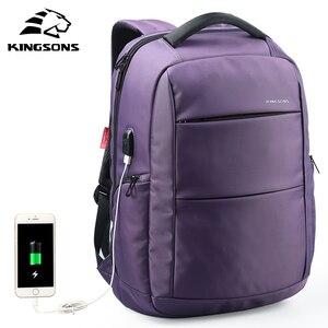 Image 1 - Kingsons Funzione di Ricarica USB Del Computer Portatile Esterno Zaino Anti furto Delle Donne di Affari Dayback Borsa Da Viaggio 15.6 pollici KS3142W
