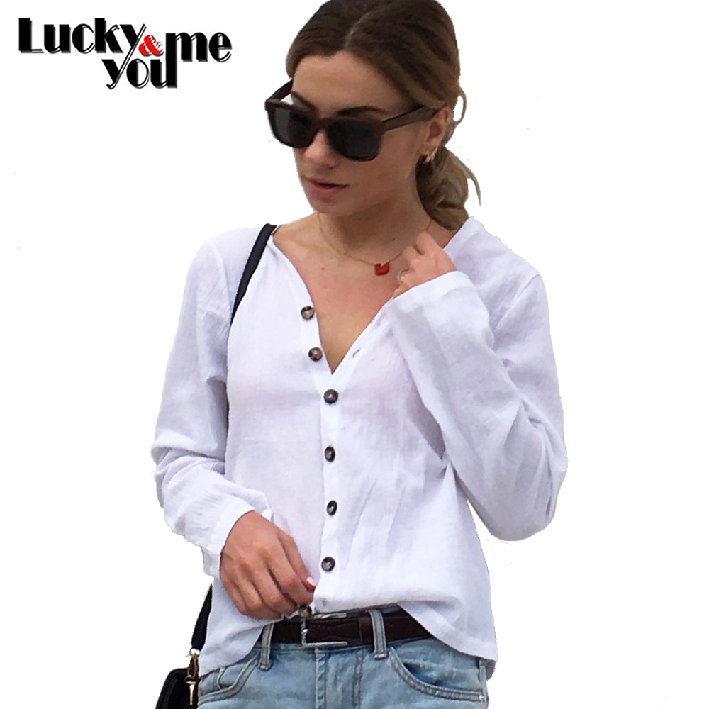2020 New Arrive Womens Spring Summer Autumn White Soft Comfortable Cotton Full Sleeve Breathable Button Shirt Girls Casual Shirt