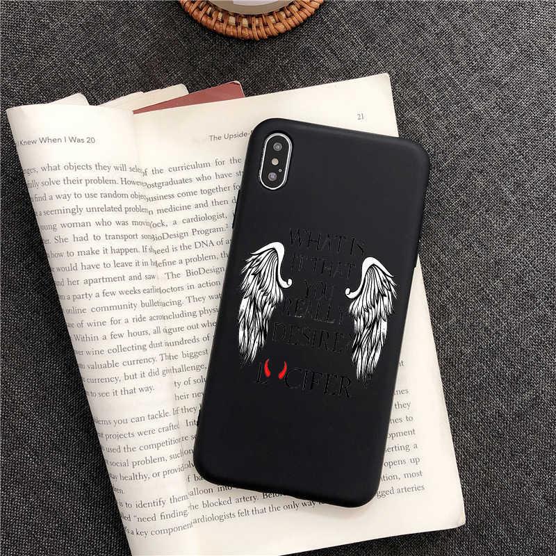 American tv degenerado anjo lucifer tpu silicone macio caso de telefone para iphone 6 s 5 se x xr xsmax 7 8 plus 11 pro max preto capa