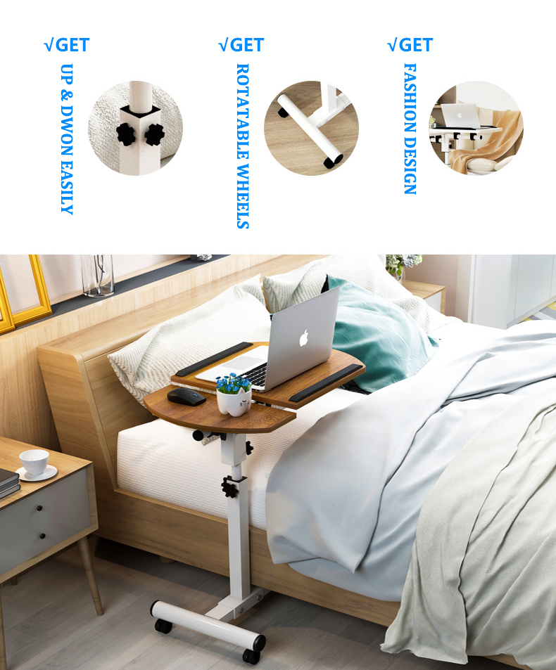Foldable Laptop Stand with Rotating Wheels and Side Space for Keyboard and Mouse 7