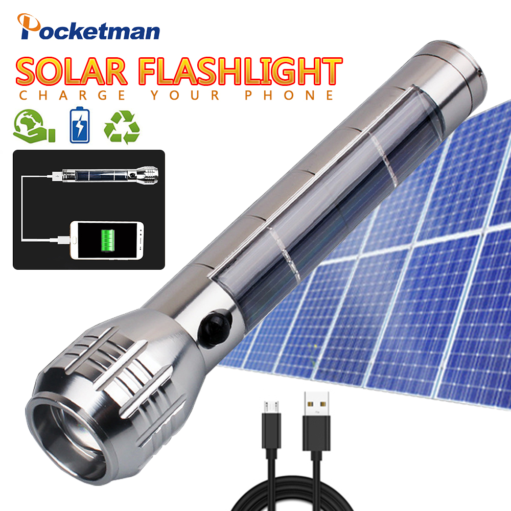 Solar Flashlight  Multi-Functional LED Flashlight  Power Bank Zoom Lamp Energy Saving Solar Lanterna Light  Outdoor