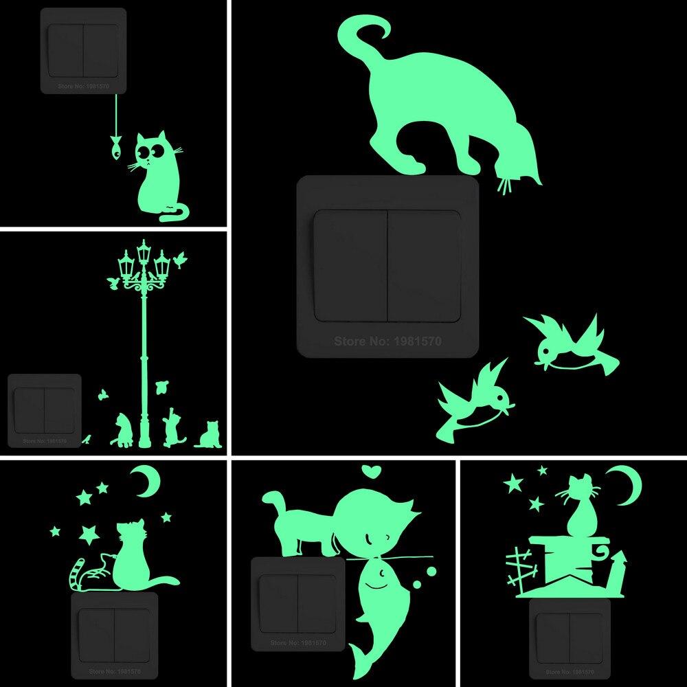 Glow in the Dark Cat Sticker Kids Room Luminous Stickers Home Decor Cartoon Wall Sticker Car Phone Bathroom Toilet Decoration