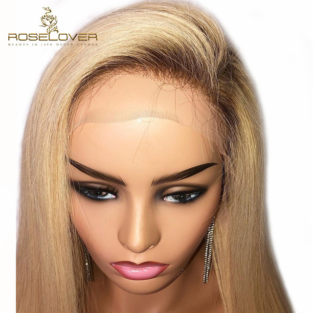 #4/613 Straight Lace Front Human Hair Wigs Pre Plucked with Baby Hair Ombre Blonde Colored Human Hair Wigs Brazilian Remy Wigs