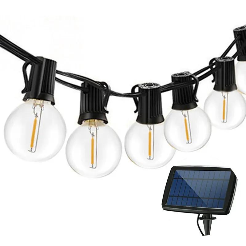 25 led solar light string outdoor 25ft g40 bulb globe string lights for indoor outdoor light decoration for garden patio party