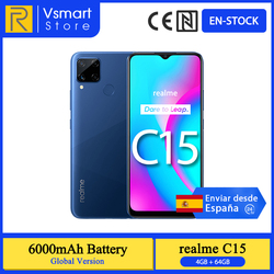 В наличии глобальная версия Realme C15 смартфон 4 Гб 64 Гб 6,5 ''мини-капля Экран 13MP AI Quad Камера Helio G35 6000 мА/ч, Батарея 18 Вт