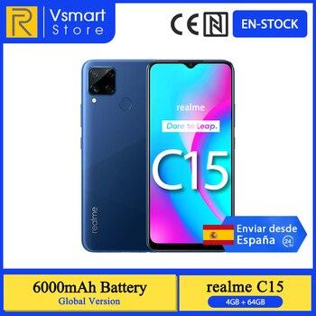 Перейти на Алиэкспресс и купить В наличии глобальная версия Realme C15 смартфон 4 Гб 64 Гб 6,5 ''мини-капля Экран 13MP AI Quad Камера Helio G35 6000 мА/ч, Батарея 18 Вт