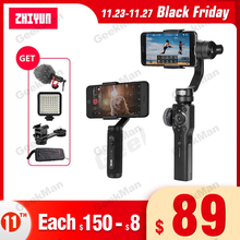 Suporte para celular zhiyun smooth 4 q2, estabilizador de cardan de 3 eixos, câmera de ação para celular gopro sjcam pk dji osmo bolso de bolso