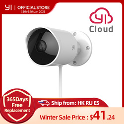 YI Outdoor Security Camera Cloud IP Cam Wireless 1080p resolution Waterproof Night Vision Security Surveillance System White