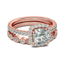 Fashion Rose Gold Crystal Wedding Rings for Women Luxury Elegant Zircon Engagement Rings Jewelry Party Gifts zn new white crystal lace rings for women wedding engagement party beautiful rings rose gold fashion jewelry gift