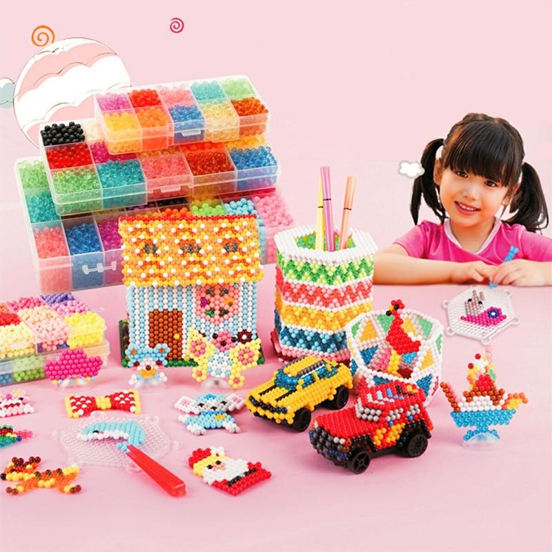 6000Pcs/Set 5mm DIY Water Spray Magic Beads Kit Animal Molds Hand Making 3D Beads Puzzle Educational Beads Children Toys