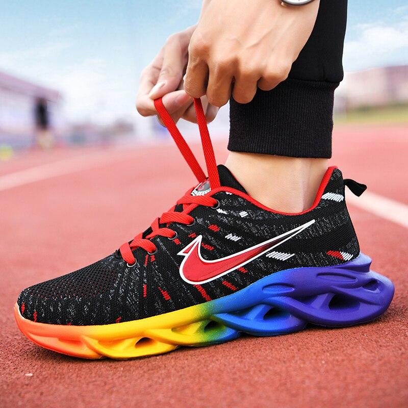 Hot Sale New Blade Running Shoes For Men Antiskid Damping Cool Outsole Walking Trekking Leisure Summer Running Zapatills Sneaker