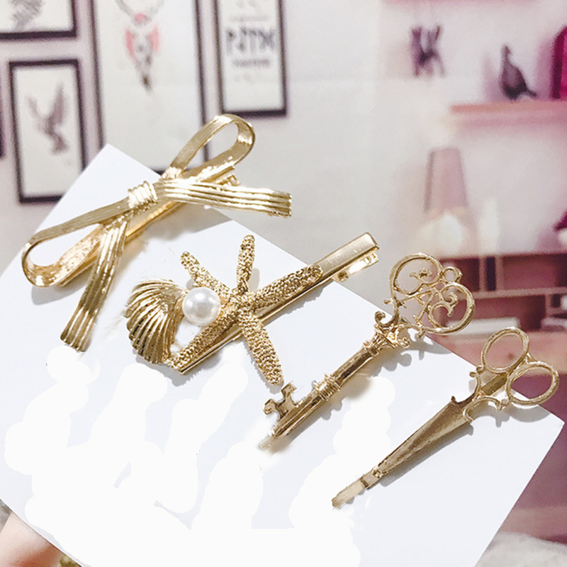 Retro Hairpins For Women Shell Hair Clips Scissors Bow Clamp Metal Hairgrips Ponytail Clip Adult Hair Accessories
