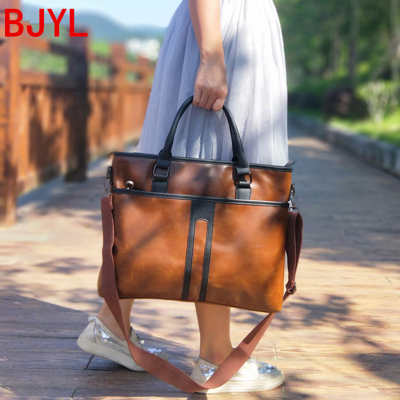 New Business Women Handbags Computer Briefcase Large Capacity 15.6 Inch Laptop Bag Female Leather Shoulder Messenger Bags