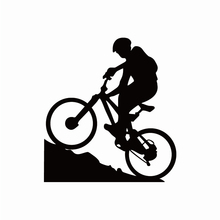 Car Sticker Mountain Biking Silhouette Styling Extreme Sports Bicycle Boy Vinyl Decal for BMW VW Audi Gti Skoda,12cm*11cm недорого