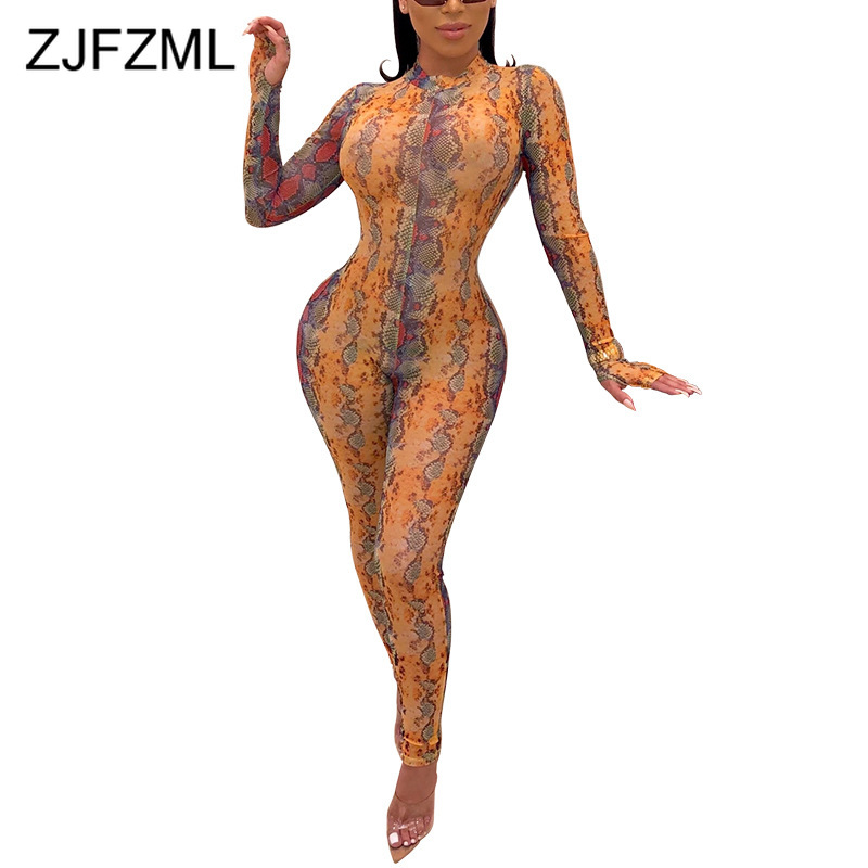 Snake Skin Print Sexy Plus Size Jumpsuit Women Mock Neck Long Sleeve Bodycon Bodysuit Vintage High Waist Night Club Party Romper