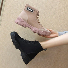 Luxury Spring/Autumn 2019 New Women Shoes Martin Boots Ankle Wedges Solid Platform Shoes Woman Fashion Casual Lace-up Non-slip цены онлайн