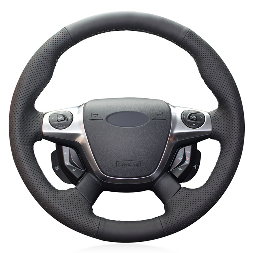 Steering-Wheel-Cover C-MAX Ford-Focus-3 Hand-Stitched Faux-Leather Black Car PU KUGA title=