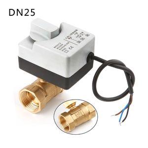 Image 2 - AC220V DN15 DN20 DN25 2 طريقة 3 أسلاك النحاس صمام كروي مزود بمحرك الكهربائية Actuato مع مفتاح يدوي 77UC الجملة دروبشيبينغ