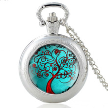 High Quality New Silver Tree of Life Glass Dome Quartz Pocket Watch Classic Men Women Necklace Pendant Gifts