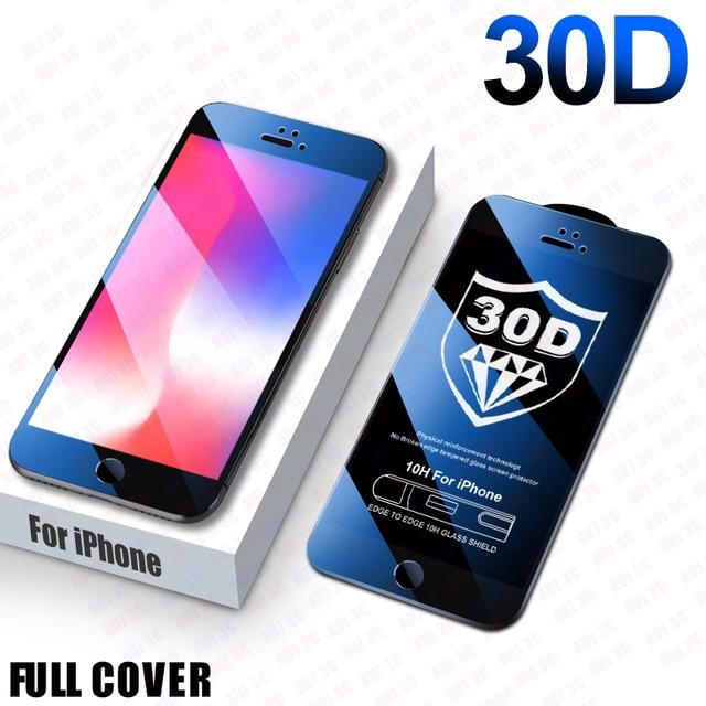 30D غطاء كامل واقية الزجاج على آيفون 8 6 6s 7 Plus SE حامي الشاشة آيفون 11 برو ماكس الزجاج المقسى على Xr X Xs ماكس