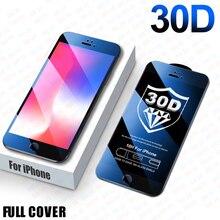 30D เต็มรูปแบบป้องกันสำหรับ iPhone 8 6 6s 7 Plus SE ป้องกันหน้าจอ iPhone 11 Pro MAX กระจกนิรภัยบน XR X XS MAX