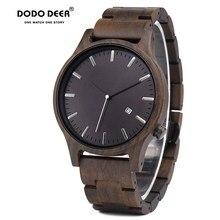 דודו צבי עץ שעון גברים אופנה תאריך תצוגת עץ שעונים זכר мужские часы קוורץ שעונים נייר אריזת מתנה Dropship