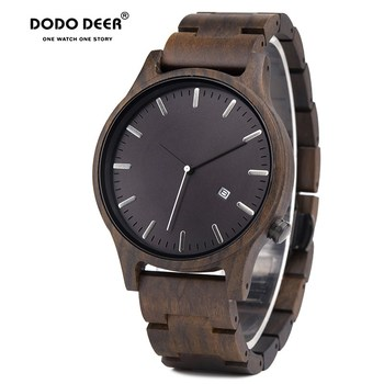DODO DEER Wood Watch Men Fashion Date Display  Wooden Timepieces Chronograph Military Quartz Watches Paper Gift Box Dropship B09 eco friendly green sandal wood watches mens quartz wooden watch with date