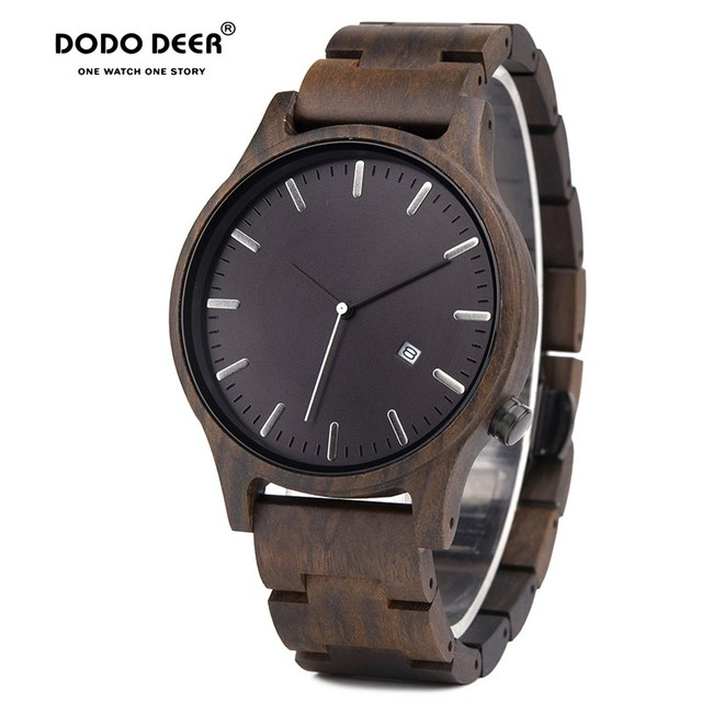 DODO Reloj de madera con indicador de fecha para hombre, reloj masculino de madera, con caja de regalo