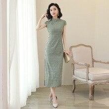Сексуальное хлопковое льняное женское китайское платье для выпускного вечера винтажное тонкое зеленое клетчатое Qipao Плюс Размер 3XL длинное Чонсам Новое Vestidos