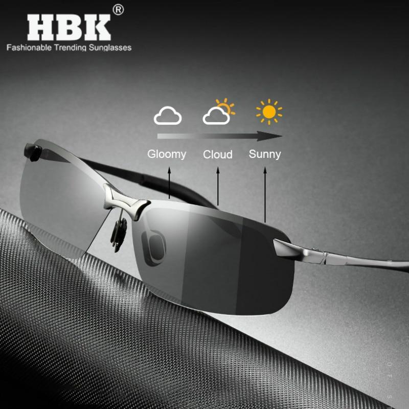 Polarized Photochromic Sunglasses Men Driving Rectangle Chameleon Change Color Sun Glasses Day Night Vision Anti Glare Goggles