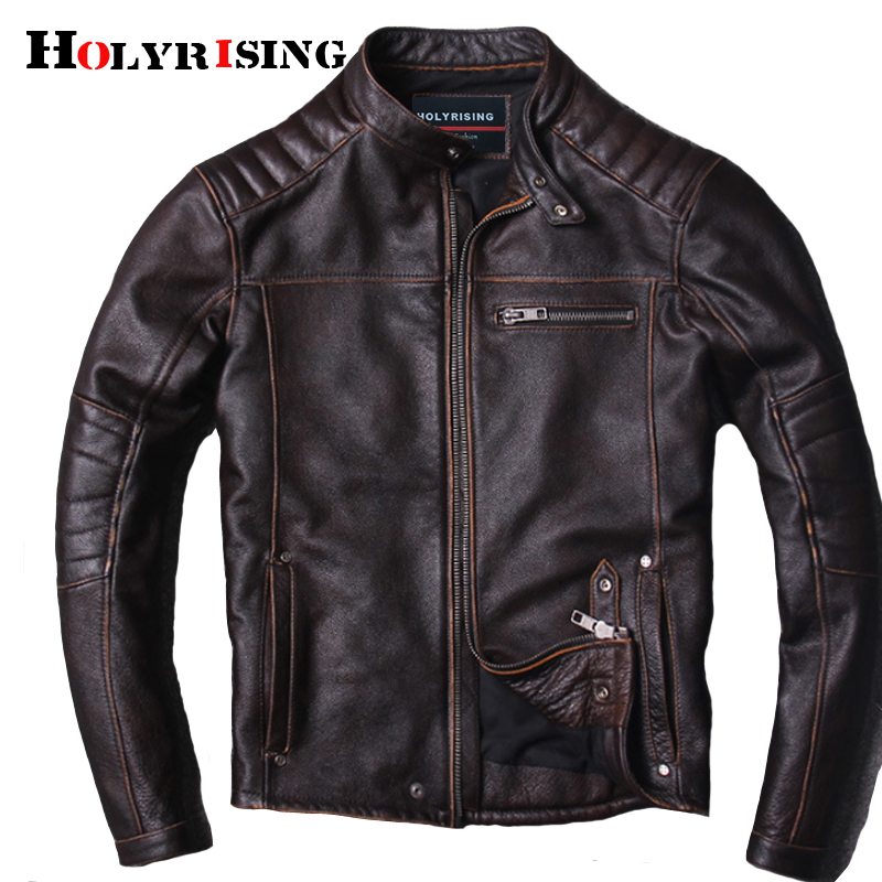 New Style Warm Mens Clothes Motor Biker Leather Jackets Man Black Genuine Leather Jacket Cowhide Leather Jacket 18664-5