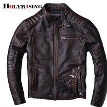 Yeni stil sıcak erkek giysileri motor biker DERİ CEKETLER adam siyah hakiki deri ceket inek derisi deri ceket 18664 5