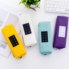 White Canvas Pencil Case School Solid Color Letter Zipper Bag Pen Box Supplies Students Stationery Gifts