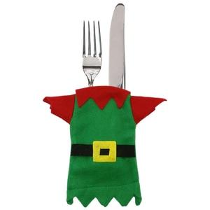 Image 5 - Christmas Cutlery Bag Dinner Tableware Holder Pocket,Xmas Decoration Snowman Santa Elf Reindeer Holiday Ornaments Free shipping