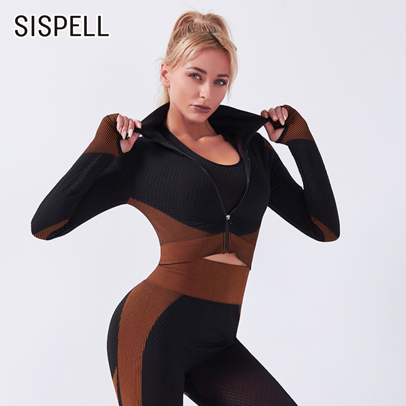 SPELL Hit Color Sportswear For Women Two piece Suit Stand Collar Long Sleeve Coat High Waist Slimming Pants Female