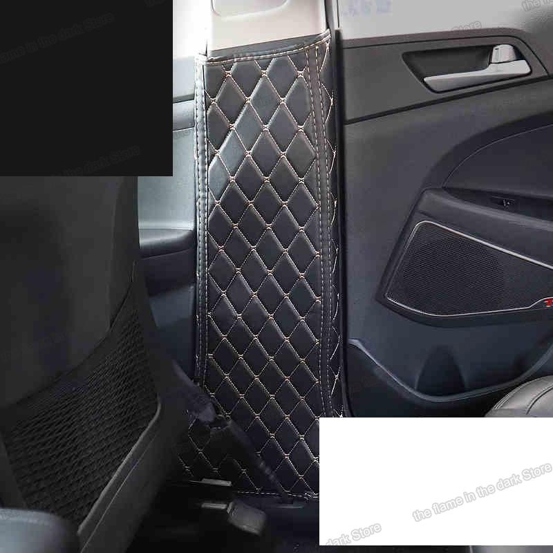 Lsrtw2017 Fiber Leather Car Inner Door Post Anti-kick Mat For Hyundai Tucson 2015 2016 2017 2018 2019 2020 Interior Accessories