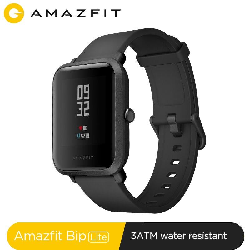 Versão global amazfit bip lite relógio inteligente 45 dias de vida da bateria 3atm água-resistência smartwatch para xiaomi android ios novo 2019