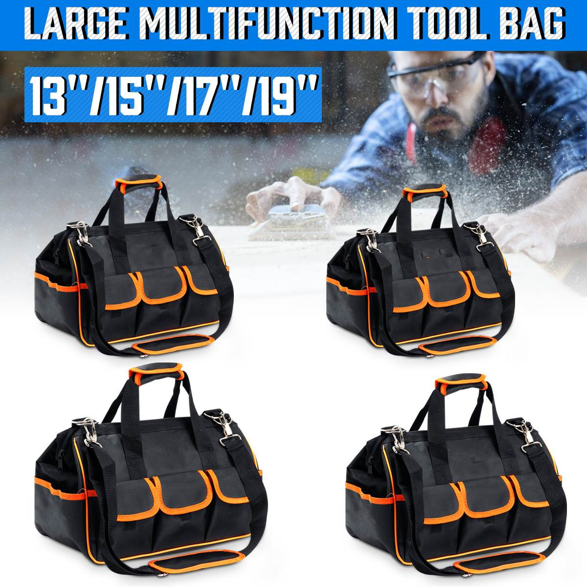 13/15/17/19 Inch Portable Tool Bag Electrician Bag Multifunction Repair Installation Canvass Large Thicken Tool Bag Work Pocket