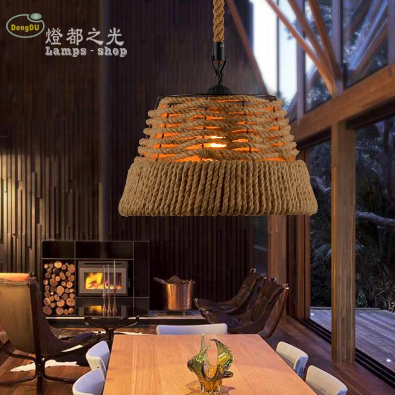 The Nordic Loft American Country Retro Hand Woven Rope Chandelier Bar Coffee Hall Chandelier Project Celier Celier Luminaire